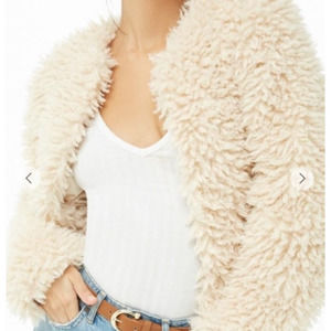 Forever 21 Cream Shaggy Faux Fur Cropped Coat